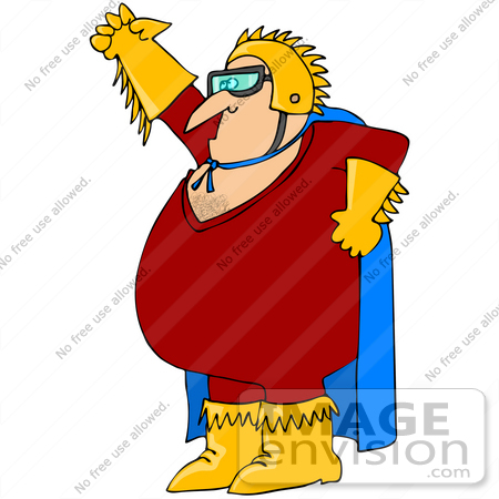 Clip Art Graphic of a Golden Gloved Super Hero Man in Red and Blue.