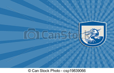 Stock Illustration of Great Blue Heron Head Shield Retro Business.