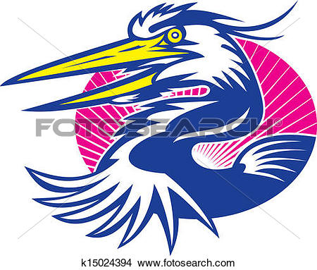 Clipart of Great Blue Heron Head Retro k15024394.