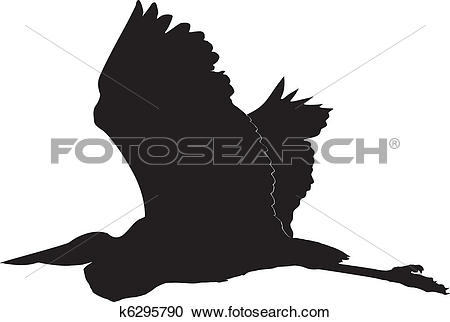 Clipart of flying heron k6295790.