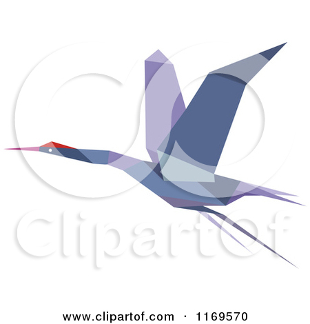 Clipart of a Flying Purple Origami Heron Stork or Crane.