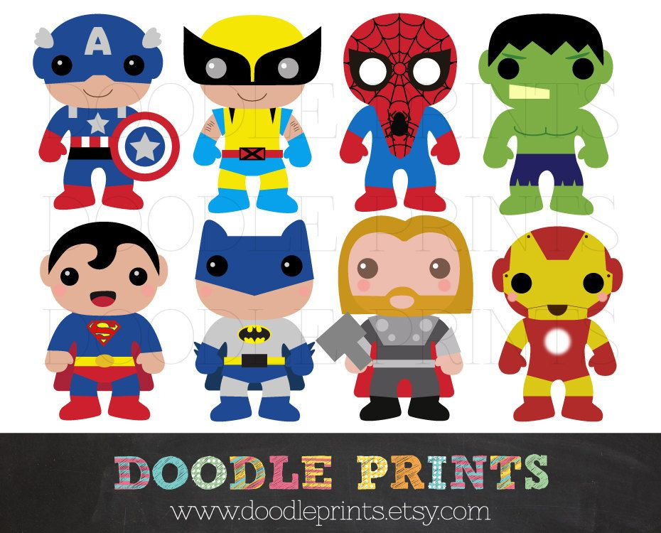 Super Hero Clipart Design, Heroes Digital Clip Art Printable.