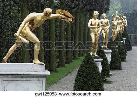 Stock Photo of Gold sculptures in a garden, Herren Hausen Gardens.