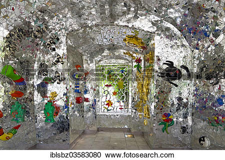 """Stock Photography of """"Mirror mosaic by Niki de Saint Phalle in the."""