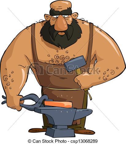 Vector de herrero, caricatura.