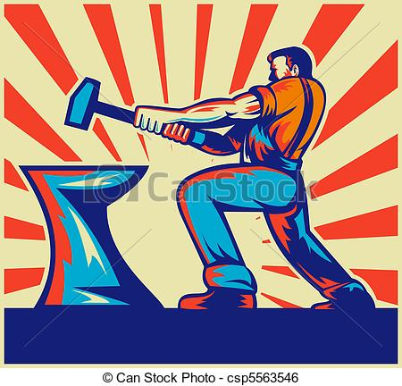 Stock Illustration of male worker or blacksmith striking.