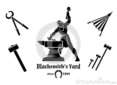 Vintage Blacksmith And Metalworks Logos, Emblems Stock Vector.