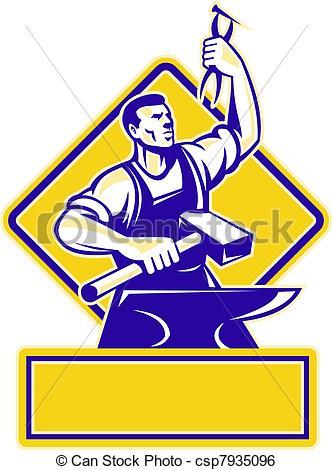 Stock de Ilustracion de herrero, martillo, tenencia, Yunque.