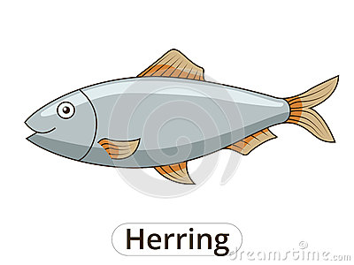 Draw The Herring Fish Educational Game Vector Stock Vector.