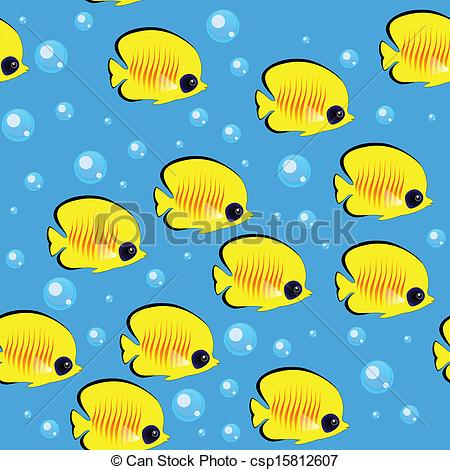 EPS Vector of Blue Fish Shoal Seamless Pattern.