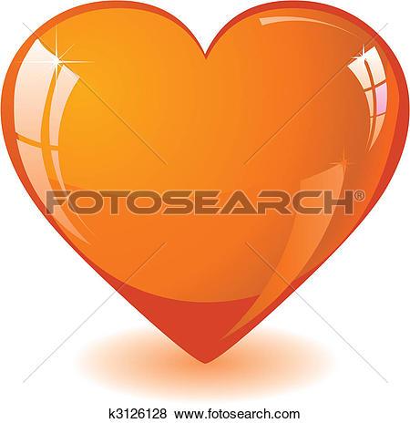 Clip Art of Glitter orange heart k3126128.