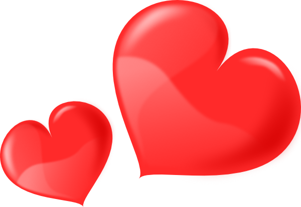 Two Glossy Hearts Clip Art at Clker.com.