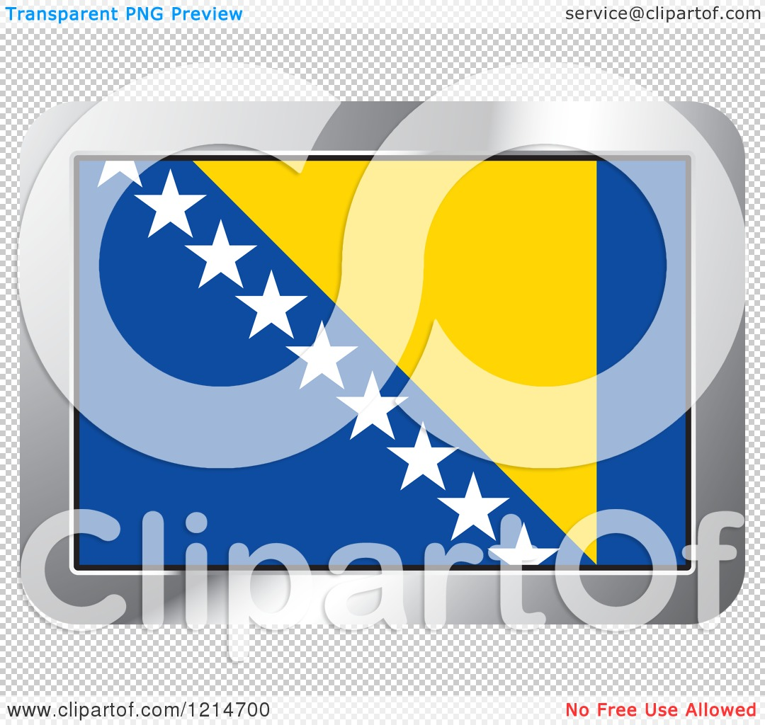 Clipart of a Bosnia and Herzegovina Flag and Silver Frame Icon.