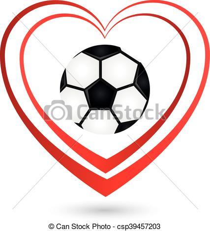 Vector Clipart of Fußball, Ball, Herz, Logo csp39457203.