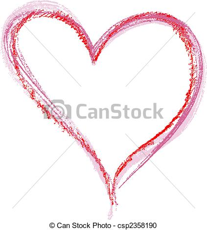 Vector Clipart of Crayon Heart image isolated on a white.