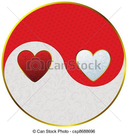 Clip Art Vector of yin yang as hearts.