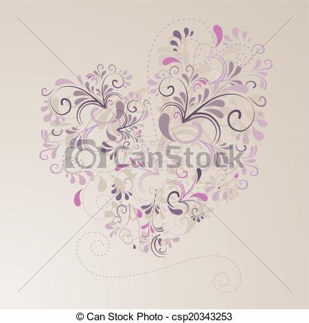 Clipart Vector of Herz aus Ornamenten mit beigem Hintergrund.