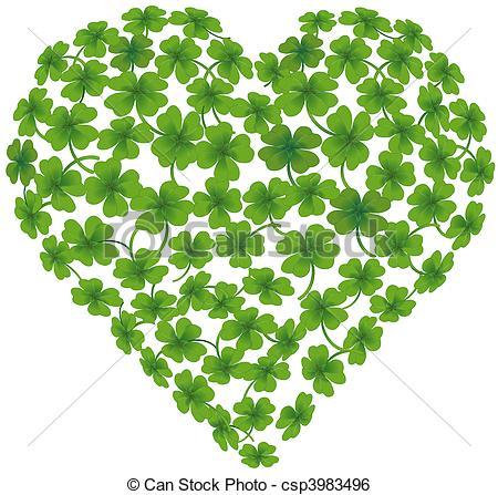 Clip Art Vector of heart shamrock csp3983496.