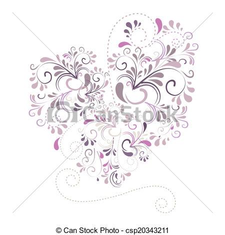 Vector Clip Art of Herz aus Ornamenten csp20343211.
