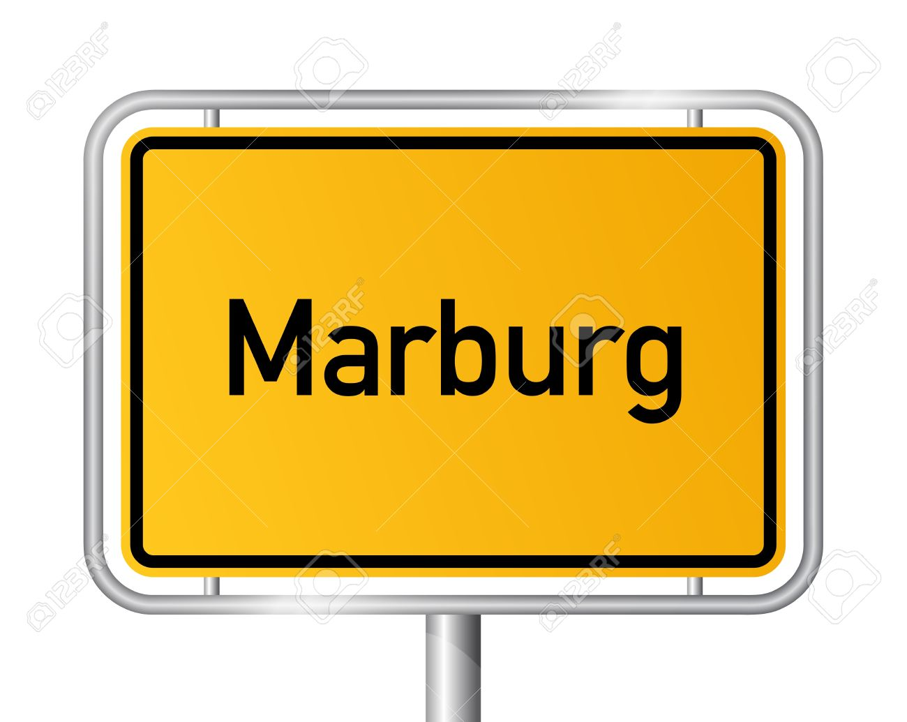 City Limit Sign MARBURG Against White Background.