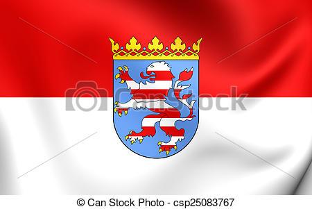 Stock Illustration of Flag of Hessen, Germany. Close Up.