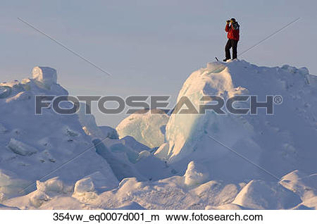 Stock Photo of Inupiat views landscape from from pack ice west of.