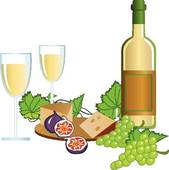Clipart of Wine Bottle with Glass k8629412.