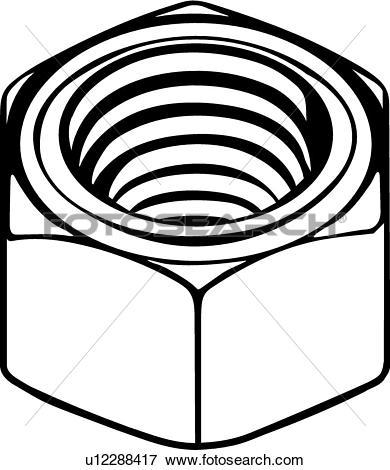 Clip Art of Hex Nut u12288417.