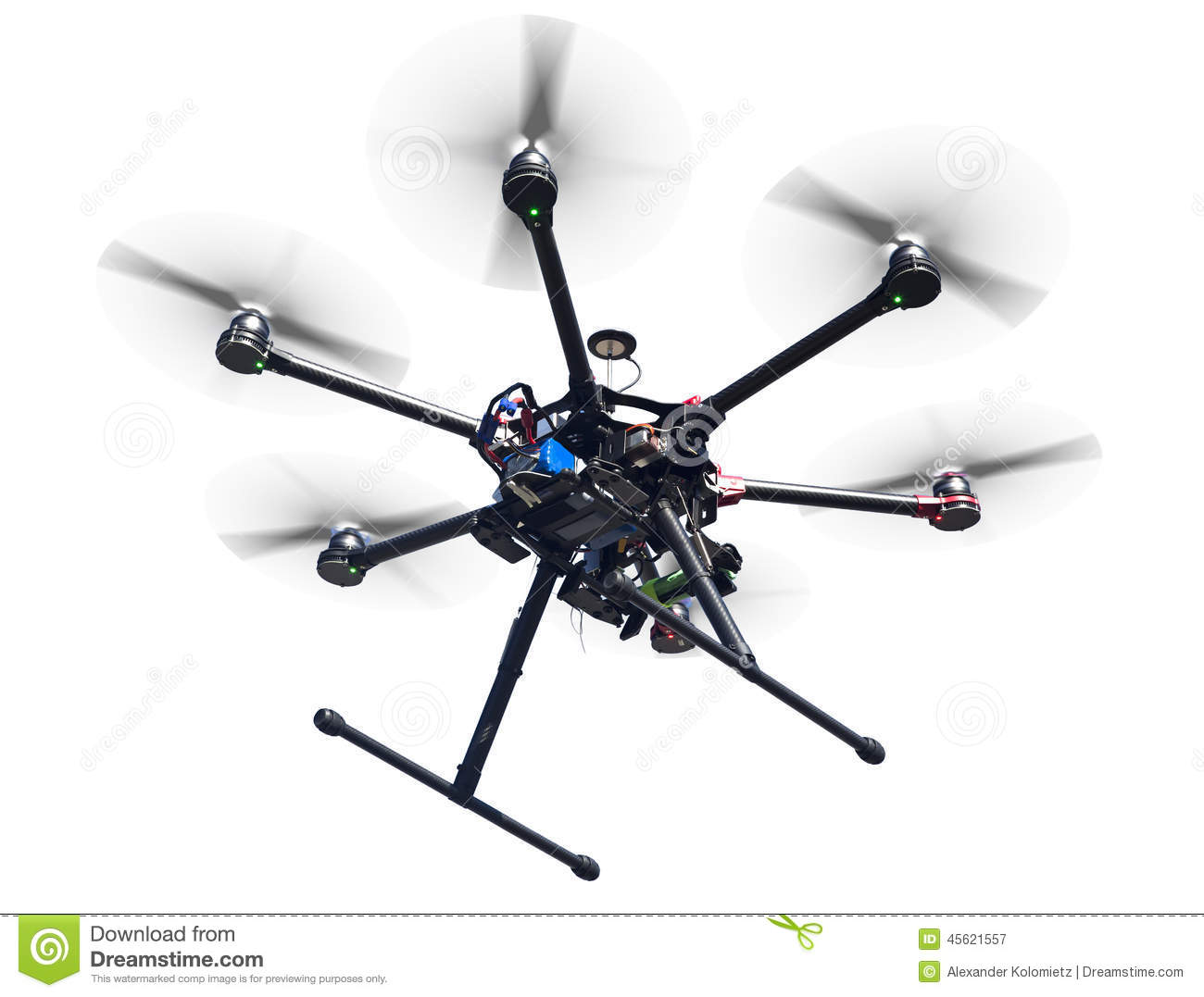 Flying Drone Isolated On White Stock Photo.