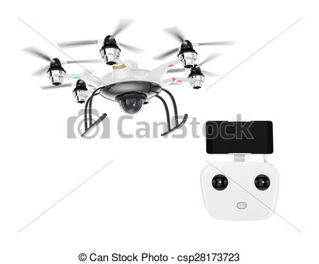 Clip Art of Hexacopter and remote controller isolated on white.