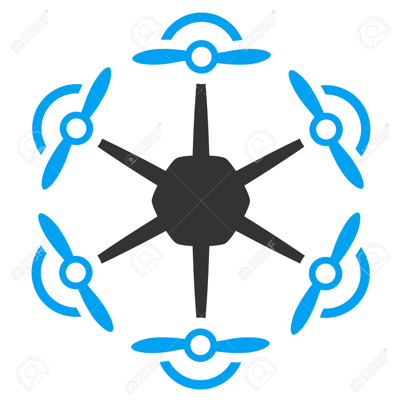 Flying Hexacopter Vector Icon. Style Is Flat Symbol, Rounded.