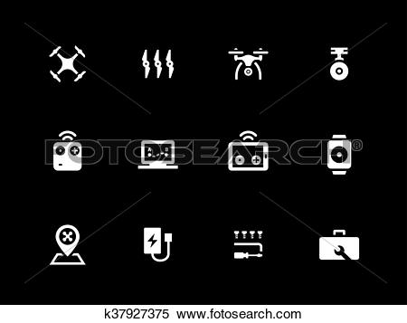 Clipart of Hexacopter and quadcopter icons on black background.