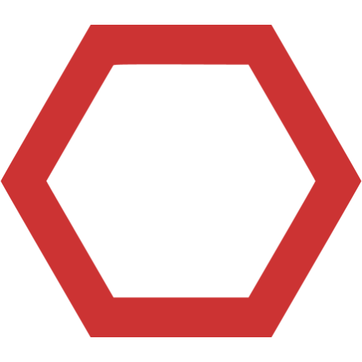 Persian red hexagon outline icon.