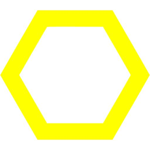 Yellow hexagon outline icon.