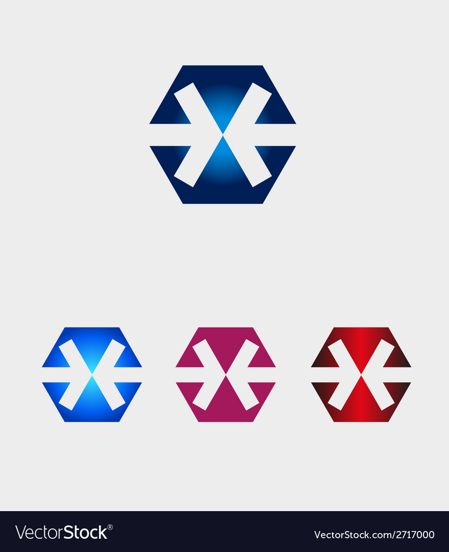 Hexagons logo with arrow icon.