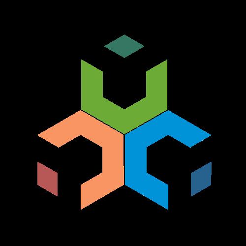 Industrial Hexagons Triangle Logo.