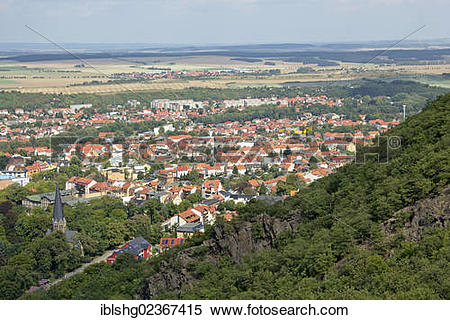 """Stock Image of """"View over Thale from the cable car to."""
