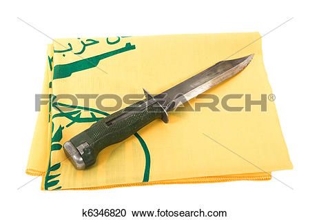 Stock Photography of Army knife and flag of Hezbollah k6346820.