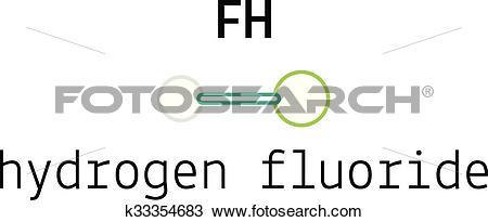 Clipart of HF hydrogen fluoride molecule k33354683.