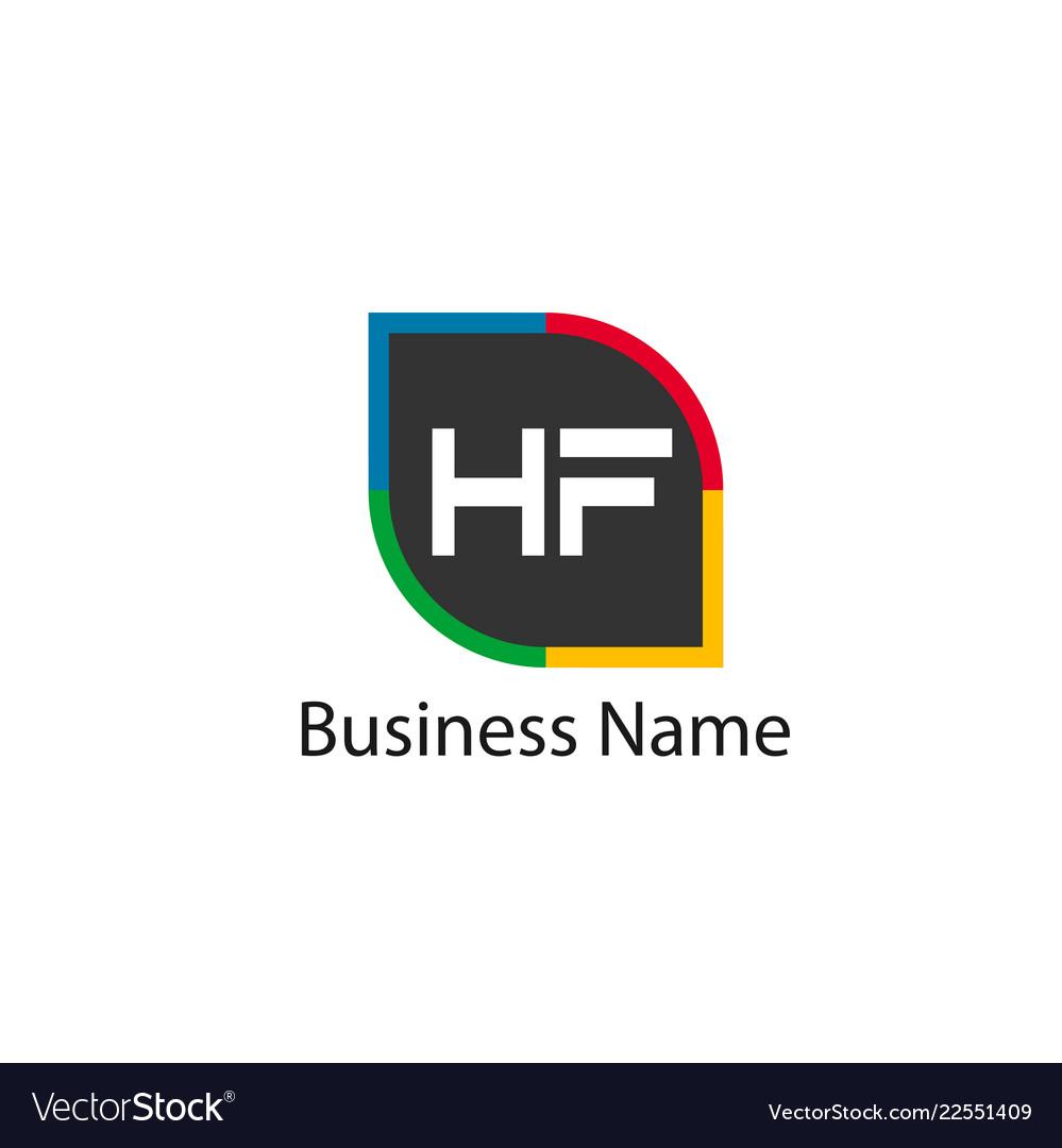 Initial hf letter logo design.