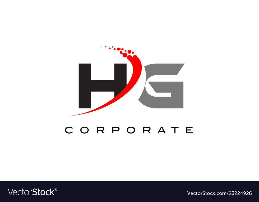 Hg modern letter logo design with swoosh.