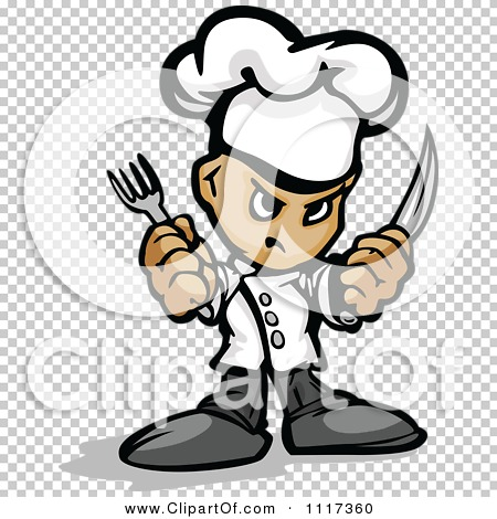 Cartoon Of A Tough Male Chef Guy Holding A Knife And Fork.