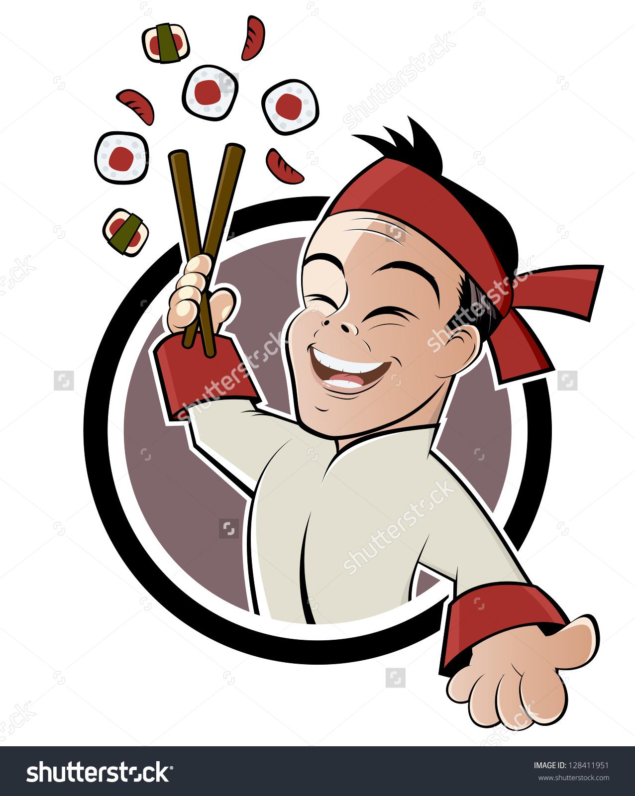 Funny Sushi Cartoon Stock Vector 128411951.