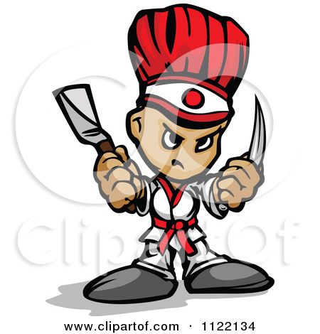 Cartoon Of A Tough Hibachi Chef.