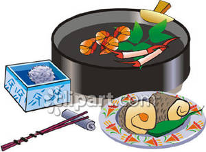 Food Cooking on a Hibachi Royalty Free Clipart Picture.