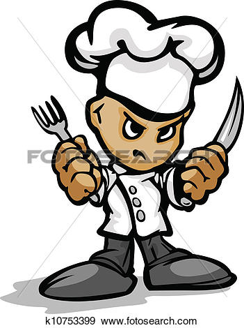 Clipart of Hibachi Grill Chef Mascot with Determined Face and.