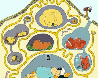 Hibernating animals clipart.