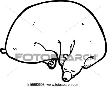 Cartoon hibernating bear Clipart.