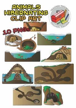 10 Hibernating Animals Clip Art.