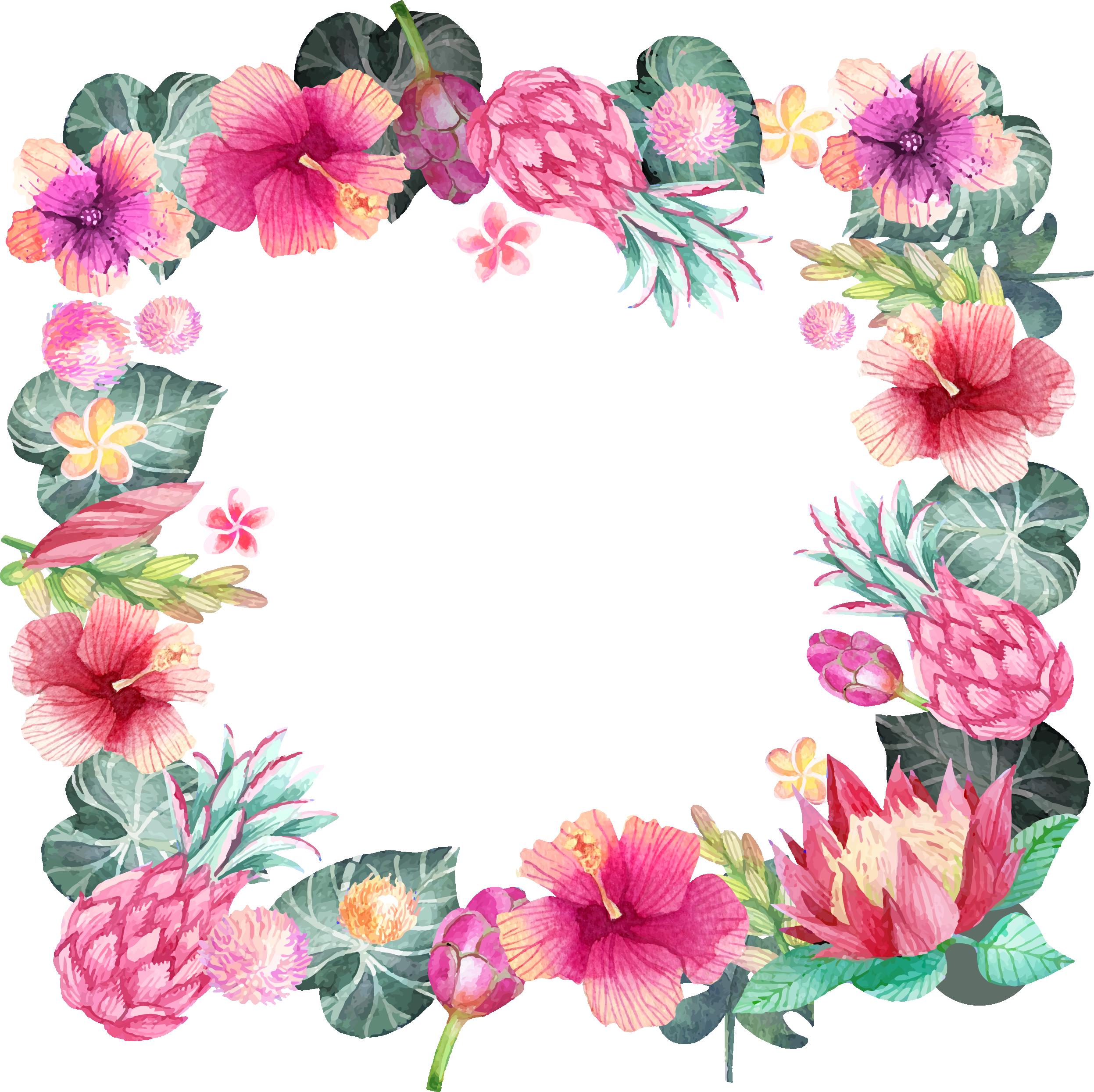 HD Pink Hibiscus Border Png Transparent PNG Image Download.